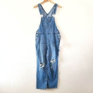 NWT Forever 21 Distressed Denim Overalls XS